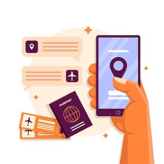 Płaska aplikacja do spotkań i rezerwacji online dla turystów i znajdź hotele