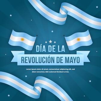 Płaska argentyńska ilustracja dia de la revolucion de mayo