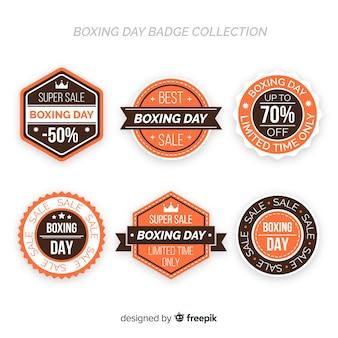Płaska boks dnia odznaka kolekcja