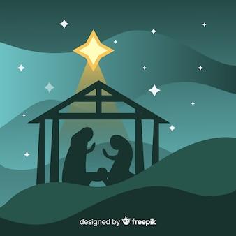 Płaska boże narodzenie narodzenie jezusa scena