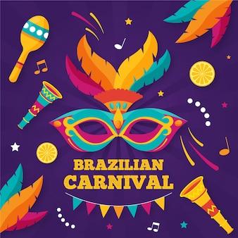 Płaska brazylijska maska karnawałowa