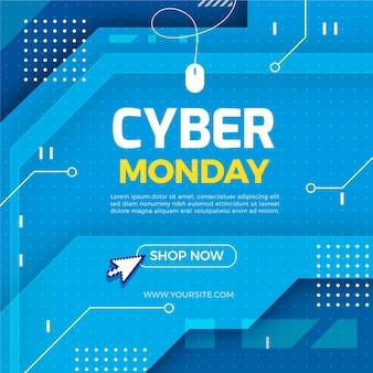 Płaska cyber ilustracja sprzedaży w poniedziałek