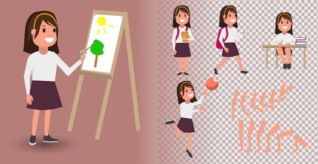 Płaska dziewczyna student dla twoich scen. zestaw do tworzenia postaci z różnymi widokami, emocjami twarzy, synchronizacją warg i pozami. części szablonu nadwozia do prac projektowych i animacji.