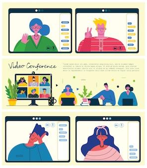 Płaska edukacja, szkolenie, samouczek online, koncepcja e-learningu. ikona zestaw szablonów banerów. ilustracja sieci web. nauczyciel przy stosie książek, dokument laptopa.