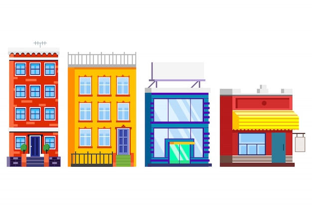 Płaska fasada budynków.
