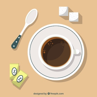 Płaska filiżanka kawy z widokiem z góry