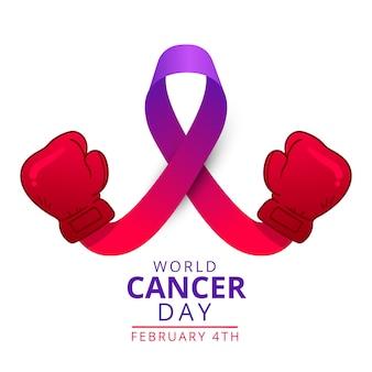 Płaska fioletowa wstążka światowego dnia raka z rękawicami bokserskimi