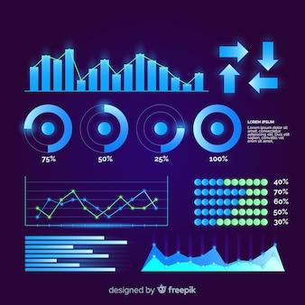 Płaska futurystyczna kolekcja elementów infographic