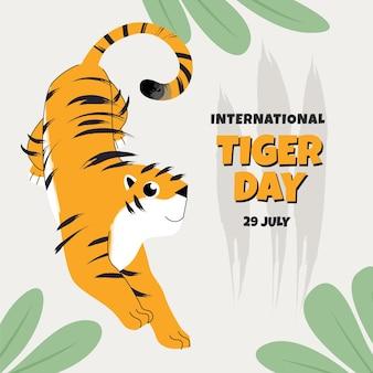 Płaska globalna ilustracja tygrysa