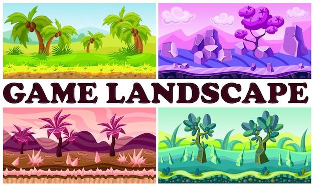 Płaska gra natura projekt tło zestaw z tropikalnymi krajobrazami dżungli fantasy palmy krzewy kamienie rośliny rzeczne góry chmury