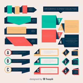 Płaska gradientowa kolekcja elementów infographic