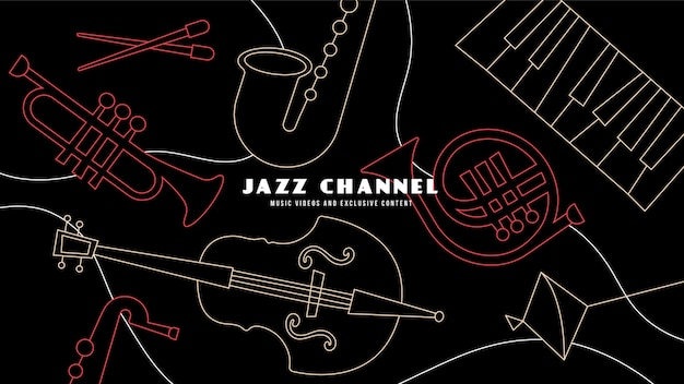 Płaska grafika kanału youtube z muzyką