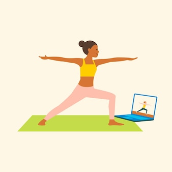 Płaska grafika wektorowa klasy jogi online