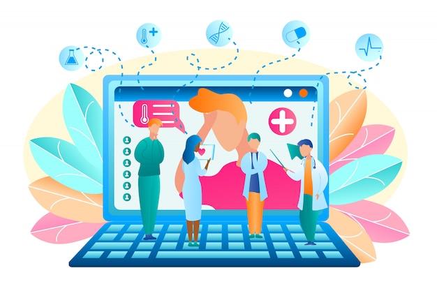 Płaska grupa wektor lekarz omawia leczenie pacjenta. ilustracja człowiek zwrócił się o pomoc do doctor online. męski i żeński medyczny profesjonalista stoi na laptopie dyskutuje objaw choroby pacjenta.