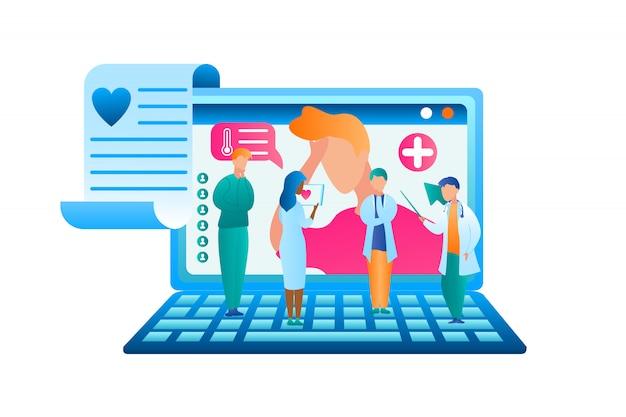 Płaska grupa wektor lekarz omawia leczenie pacjenta