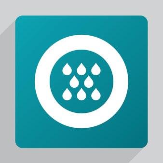 Płaska ikona deszczu, biała na zielonym tle