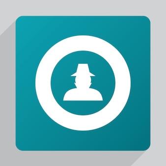 Płaska ikona detektywa, biała na zielonym tle