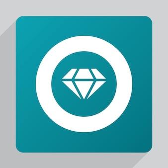 Płaska ikona diamentu, biała na zielonym tle
