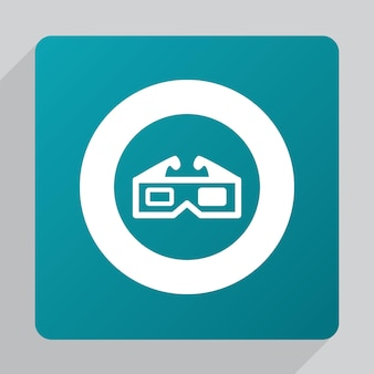 Płaska ikona filmu 3d, biała na zielonym tle