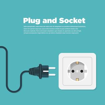 Płaska ikona gniazdka elektrycznego