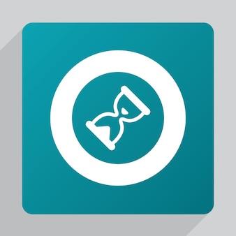 Płaska ikona klepsydry, biała na zielonym tle