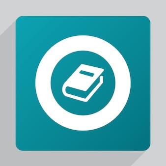 Płaska ikona książki, biała na zielonym tle