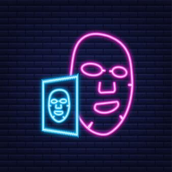 Płaska ikona maski na twarz. neonowy styl. medycyna, kosmetologia i ochrona zdrowia. czas ilustracja wektorowa.