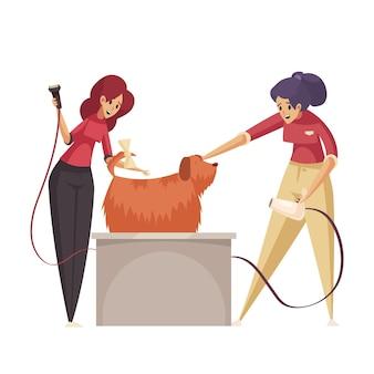 Płaska ikona pielęgnacji z kobietami suszącymi psa z długim futrem