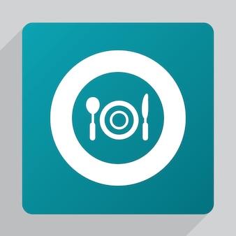Płaska ikona restauracji, biała na zielonym tle