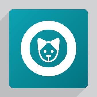 Płaska ikona szczeniaka, biała na zielonym tle