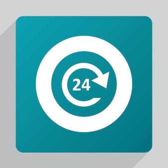 Płaska ikona usługi 24 godziny, biała na zielonym tle