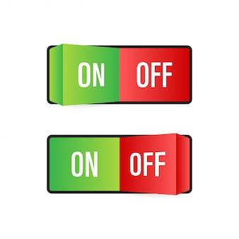 Płaska ikona włączanie i wyłączanie przycisk przełączania