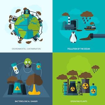 Płaska ikona zanieczyszczenia
