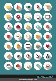 Płaska ikony kolekcji w kolorowym stylu