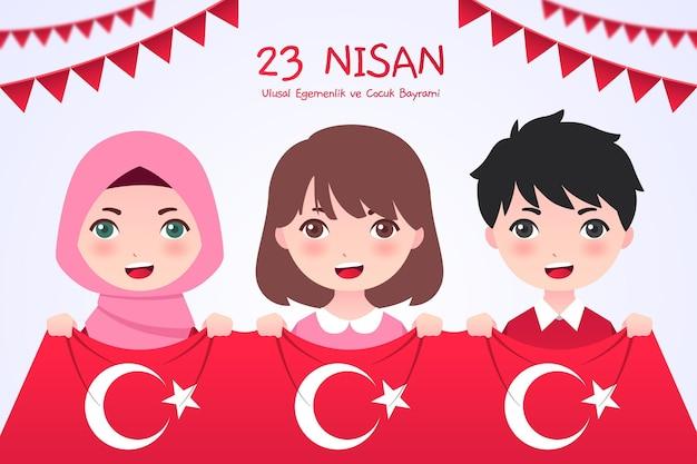Płaska ilustracja 23 nisan