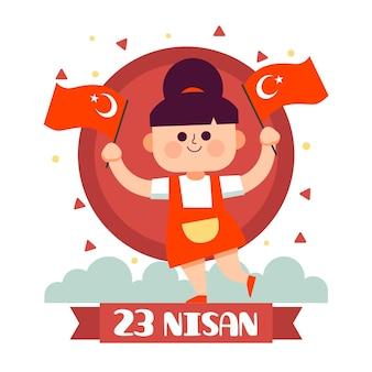 Płaska Ilustracja 23 Nisan Premium Wektorów