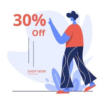 Płaska ilustracja 30% zniżki na sprzedaż