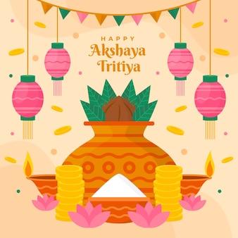 Płaska ilustracja akshaya tritiya