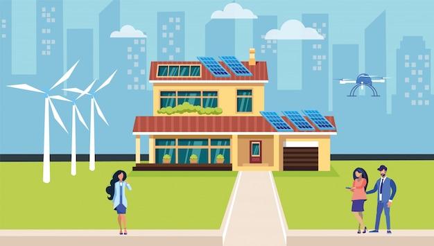 Płaska ilustracja alternatywnych źródeł energii
