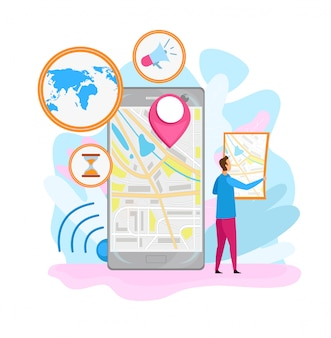 Płaska ilustracja aplikacji do nawigacji