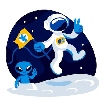 Płaska ilustracja astronauta