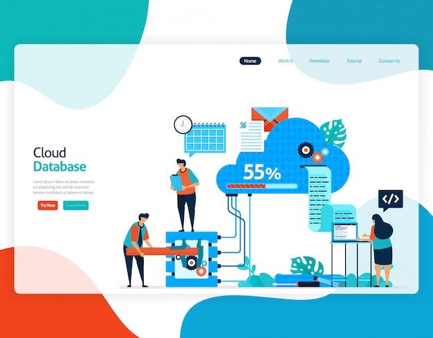 Płaska ilustracja bazy danych w chmurze. naprawa i konserwacja technologii przechowywania w chmurze.