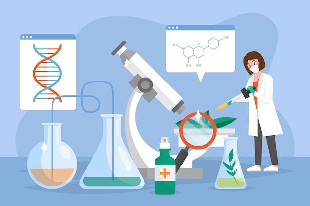 Płaska Ilustracja Biotechnologii Darmowych Wektorów