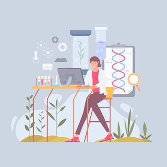 Płaska ilustracja biotechnologii