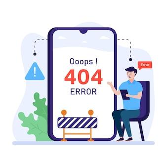 Płaska ilustracja błędu 404 web error