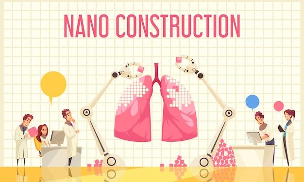 Płaska ilustracja budowy nano z grupą naukowców obserwujących unikalną operację nad odzyskiem płuc przez nanotechnologie