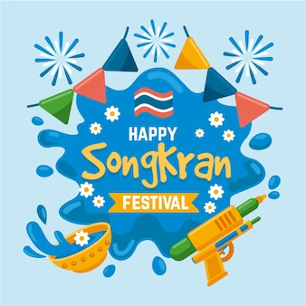 Płaska ilustracja celebracja songkran