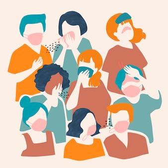 Płaska ilustracja chorych ludzi noszących maski na twarz