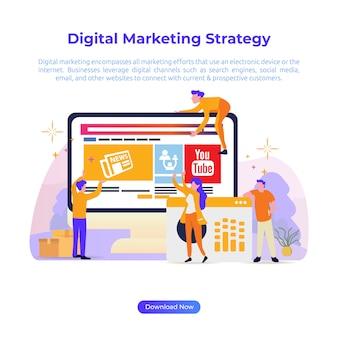 Płaska ilustracja cyfrowej strategii marketingowej dla sklepu internetowego lub e-commerce
