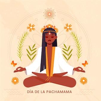 Płaska Ilustracja Dia De La Pachamama Premium Wektorów